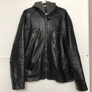 Calvin Klein Black Leather DoubleZipUp Hood Jacket